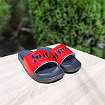 Чоловічі літні шльопанці Supreme (чорно-червоні) 4008, фото 7