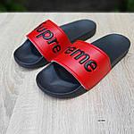 Чоловічі літні шльопанці Supreme (чорно-червоні) 4008, фото 8