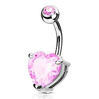 """Пирсинг пупка с крупным розовым сердцем """"Heart"""" Spikes VN039P, фото 1"""