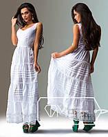 Белый сарафан женский платье летнее легкое кружевное разм М-46 не маломерит