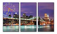 Оригинальные настенные часы картина модульные в гостинную Бруклинский мост 30х57 30х57 30х57 см, подарок шефу