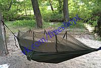 Подвесной туристический гамак с москитной сеткой (противомоскитной). Материал парашютная ткань. Цвет олива