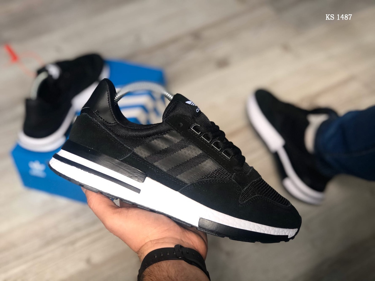 Чоловічі кросівки Adidas ZX500 RM (чорно-білі) KS 1487