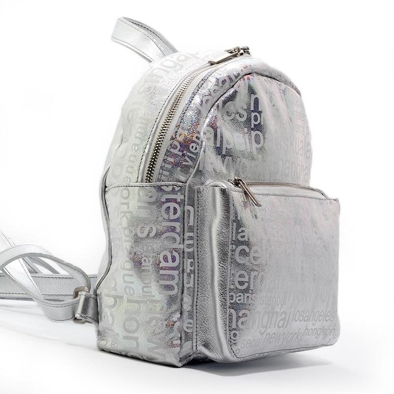 Рюкзак женский кожаный серебристый перламутр Viladi 094 (ручная работа)