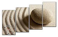 Большие часы картина на стену модульные в гостинную Песочный камень 30х57 30х57 30х57 30х57 см