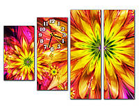 Розово желтая Модульная картина с часами Солнечный цветок 30х54 30х73 30х90 30х90 см