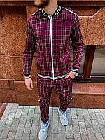 Спортивный костюм мужской модный стильный бордовый в клеточку Тренер, фото 1