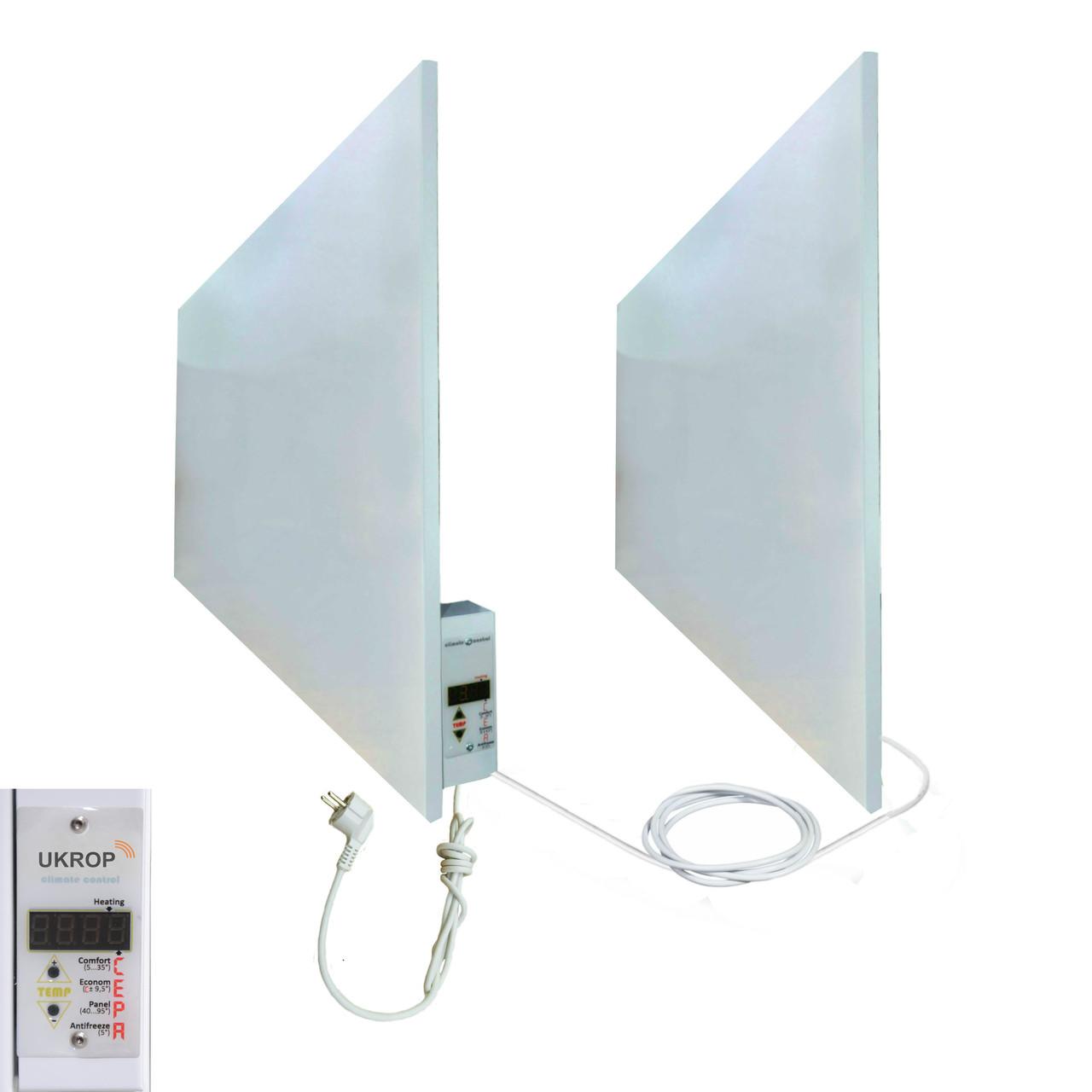 Комплект богрева до 20 кв.м: UKROP М 1000ВТ инфракрасная панель - обогреватель с терморегулятором