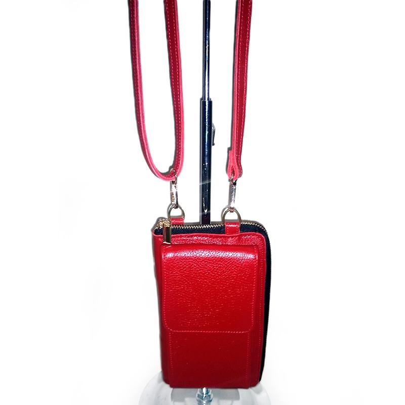 Клатч-кошелек, чехол кожаный на змейке женский красный 095
