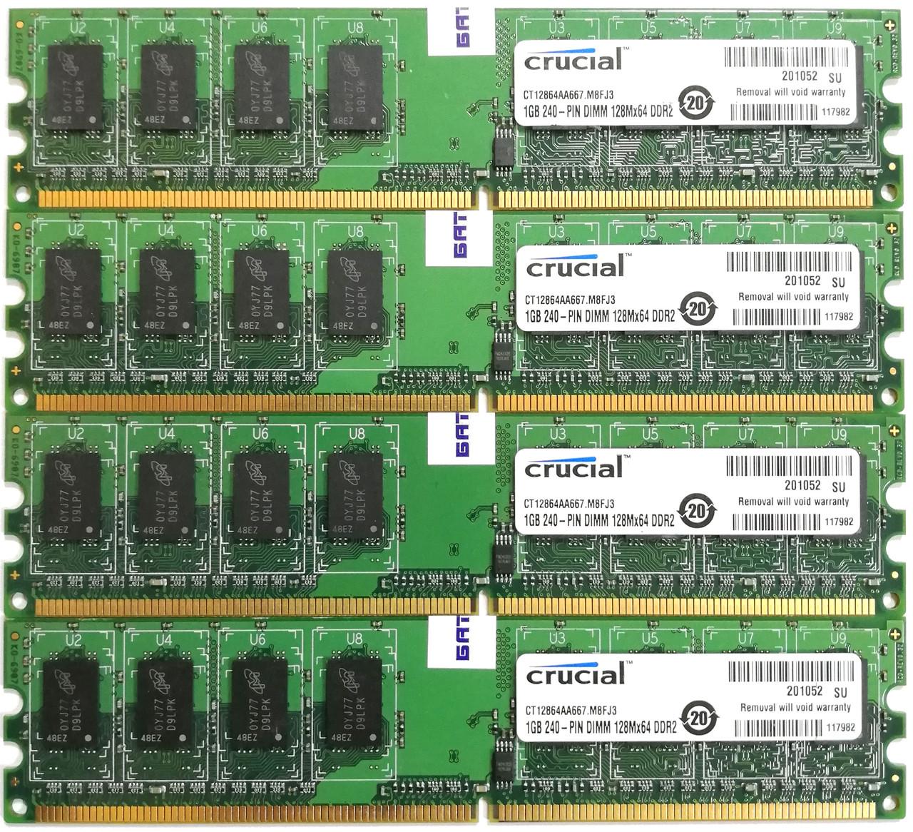Комплект оперативной памяти Crucial DDR2 4Gb (4*1Gb) 667MHz PC2 5300U 1R8 CL5 (CT12864AA667.M8FJ3) Б/У