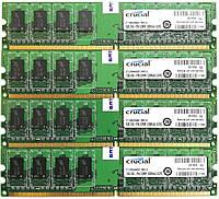 Комплект оперативной памяти Crucial DDR2 4Gb (4*1Gb) 667MHz PC2 5300U 1R8 CL5 (CT12864AA667.M8FJ3) Б/У, фото 1