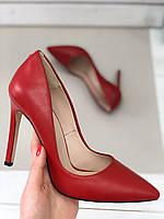 Женские красные кожаные туфли-лодочки на шпильке