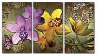 Большие часы картина на стену в гостинную модульные Полет орхидей 30х53 30х53 30х53 см