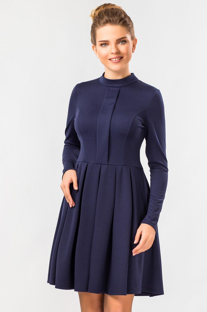 Темно-синее платье со стойкой