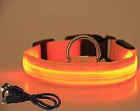СВІТЛОДІОДНИЙ нашийник для собак (заряд від USB), помаранчевий, фото 1