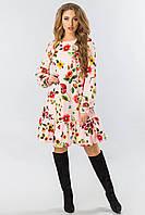 Платье с длинным рукавом и оборкой цветы на розовом, фото 1
