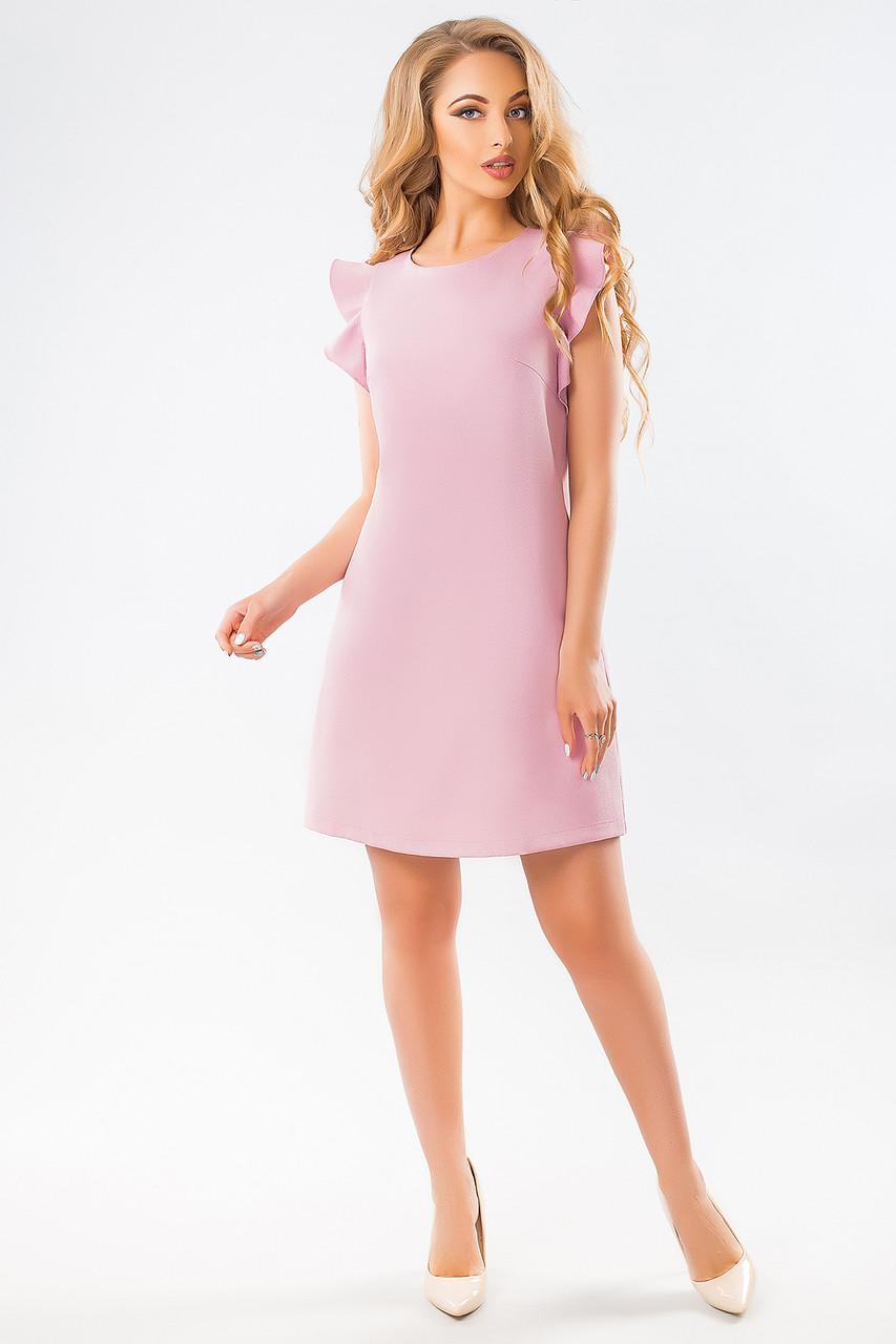 Розовое платье с воланами по пройме