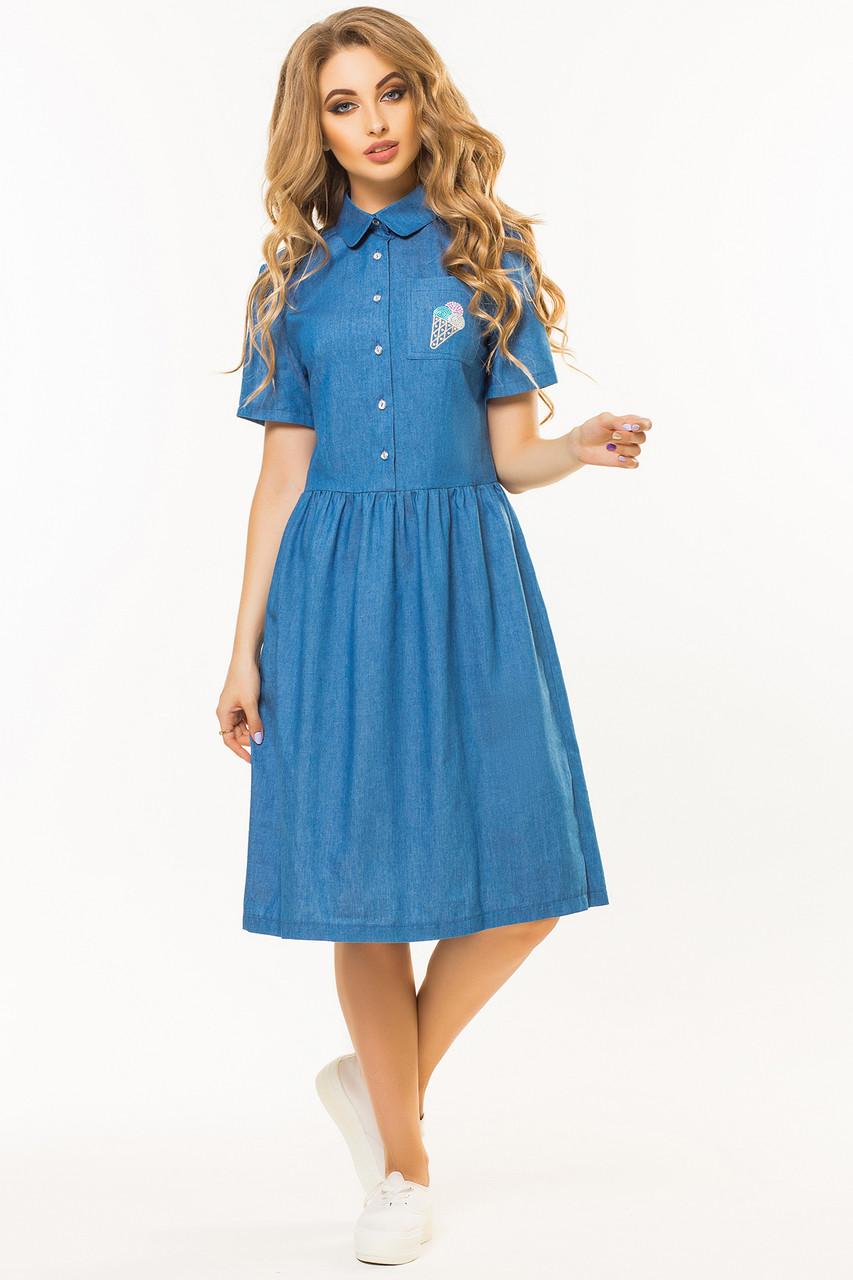Джинсовое платье-рубашка с вышивкой Мороженое