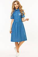 Джинсовое платье-рубашка с вышивкой Мороженое, фото 1