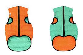 Двусторонняя курточка для собак AiryVest Lumi салатово-оранжевая (светится в темноте)