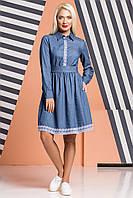 Джинсовое платье с отделкой из кружева, фото 1