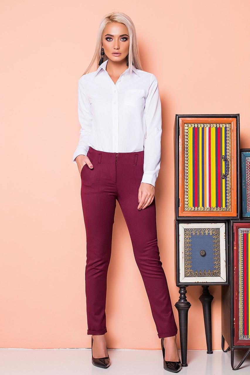 Бордовые брюки с 2 карманами