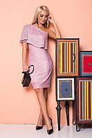 Пудровое платье с гипюром на 1 плечо, фото 1
