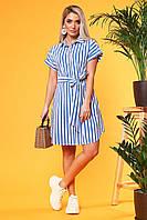 Платье-рубашка в крупную синюю полоску с поясом, фото 1