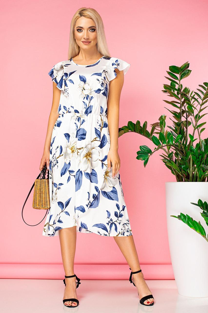 Платье с белыми цветами и асимметричным низом