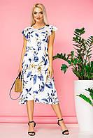 Платье с белыми цветами и асимметричным низом, фото 1