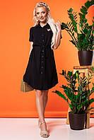 Черное платье-рубашка с вышивкой колибри, фото 1
