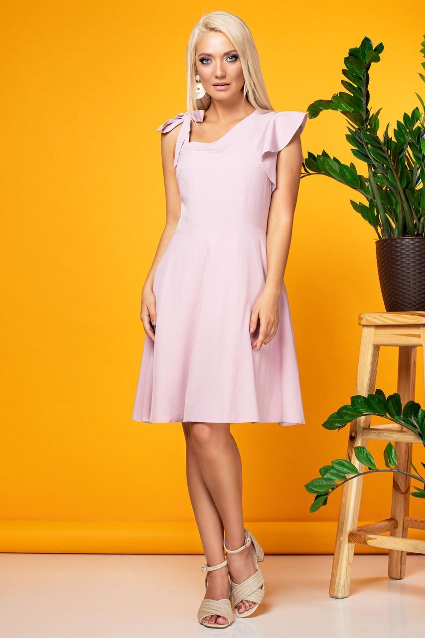 Розовое платье с бантиком на одно плечо