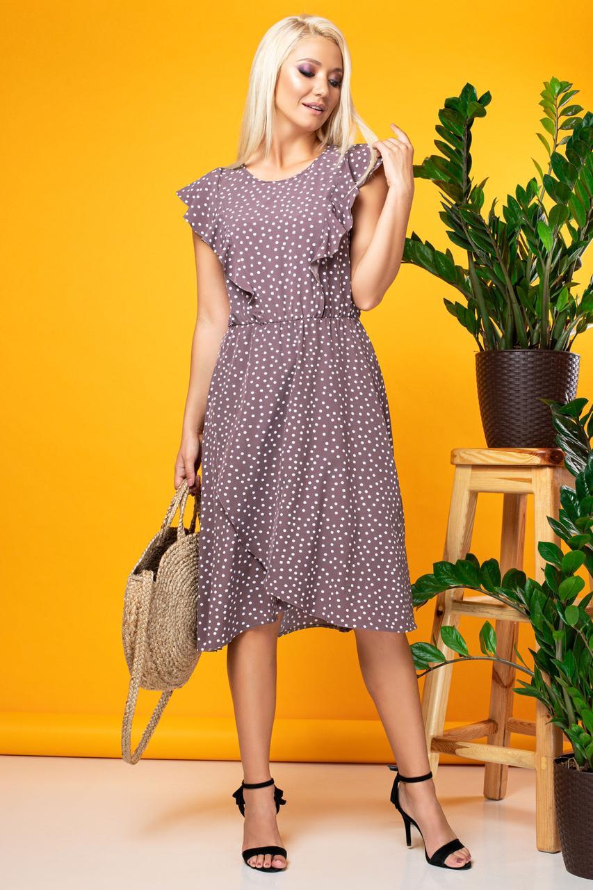 Коричневое платье без рукавов с асимметричным низом