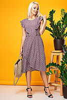 Коричневое платье без рукавов с асимметричным низом, фото 1