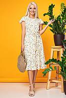 Бежевое платье с цветами с воланчиком на рукавах, фото 1