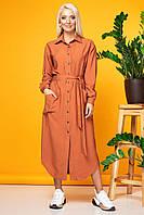 Терракотовое платье-рубашка из жатой ткани, фото 1