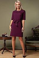 Фиолетовое платье с поясом и рукавом 1/2, фото 1