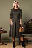 Платье с поясом и пряжкой цвета хаки, фото 1