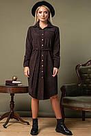 Коричневое вельветовое платье-рубашка на кнопках, фото 1