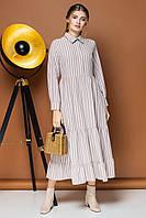 Бежевое платье в полоску с двумя оборками, фото 1