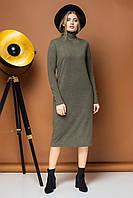 Прямое платье цвета хаки с воротником под горло, фото 1
