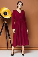 Бордовое платье с v-образным вырезом и пуговицами, фото 1
