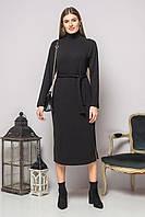 Черное платье с поясом и разрезами, фото 1