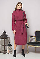 Бордовое платье с поясом и разрезами, фото 1