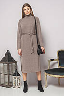 Темно-бежевое платье с поясом и разрезами, фото 1