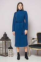 Синее платье с поясом и разрезами, фото 1