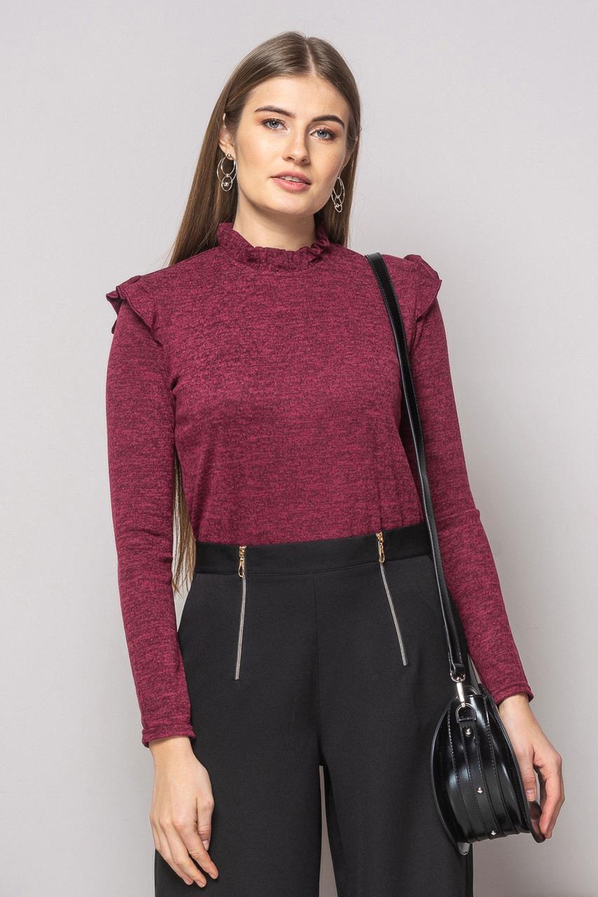 Бордовая блузка-боди с рюшами
