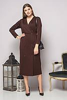 Коричневое платье с запахом и пуговицами, фото 1