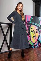 Платье с V-образным вырезом и пуговицами цвета графит, фото 1