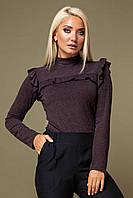 Коричневая блузка с рюшами, фото 1